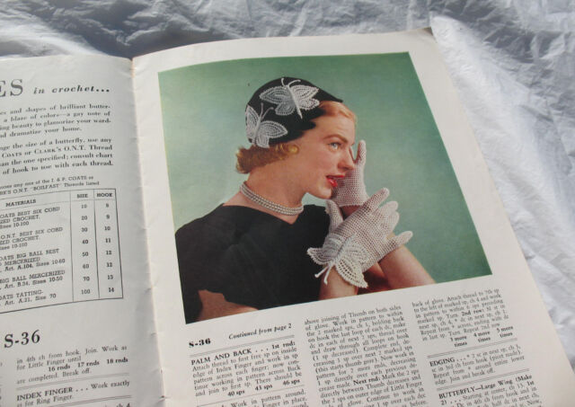 Hat Gloves Hankies Vintage Butterfly Crochet Book Make Table Linens Butterflies in Crochet Shade Pulls 1951 First Edition How To Book
