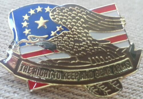 FLAG RIGHT TO BEAR ARMS LAPEL PIN HAT TAC NEW U.S