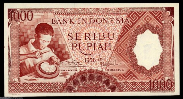 INDONESIA 1000 RUPIAH P61 1958 SILVER PLATE UNC- CURRENCY MONEY BILL BANK NOTE