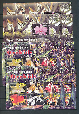 PAPUA NEW GUINEA PNG 2004 ORCHIDS FLOWERS MNH SHEETS x 10(PAP133)