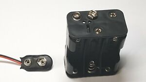 AAx6 Battery Holder 150mm Leads 9V Uk Free P/&P Square Double Layer