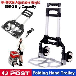 c94c84064365 80KG Folding Trolley Hand Truck Foldable Luggage Cart Heavy Duty ...