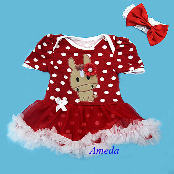 Newborn Baby Red Polka Dots Bodysuit Pettiskirt Year of the Horse Party Dress