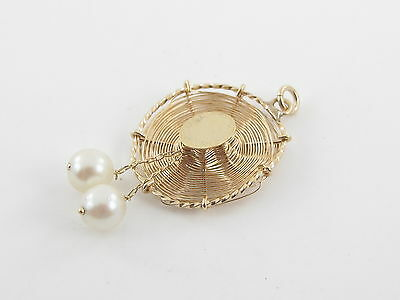 VINTAGE 14K YELLOW GOLD 3D STRAW HAT PEARLS CHARM PENDANT