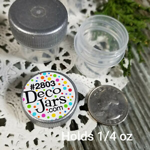 50-Vial-Silver-Cap-Pot-JAR-Bottle-1-4oz-Cache-Glitter-Powder-DecoJars-2803-USA