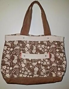 6ea0407c625 Details about Brown and White Paisley Print Canvas Tote Bag from Target -  Gently Used Once
