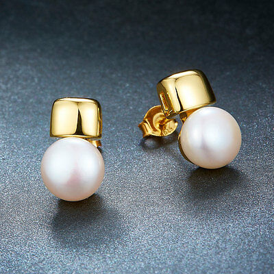 Natural Freshwater Pearl Stud Earrings Yellow Gold Over Sterling Silver S925