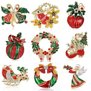 Rings Christmas Brooches Christmas Bows Sleigh Bells Brooches Christmas Pendant Drop Ornaments Hanging Christmas Decoration