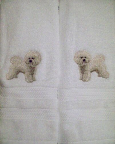 Bichon Frise Dog Breed Body Bathroom SET OF 2 HAND TOWELS EMBROIDERED BY VICKI