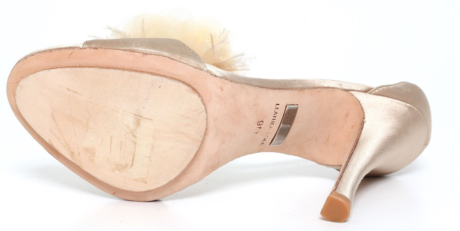 Badgley Mischka Flower Beige Heels Satin Beige Flower Damens 2283 Sz 9 M 98e38f