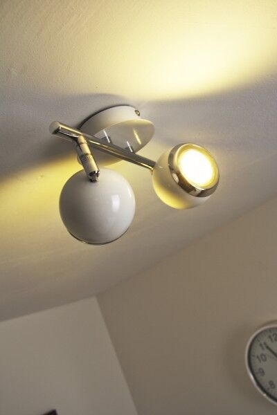 Design Design Design LED Deckenstrahler weiß Deckenspot Chrom Deckenleuchte Lampe Deckenlampe 07e038
