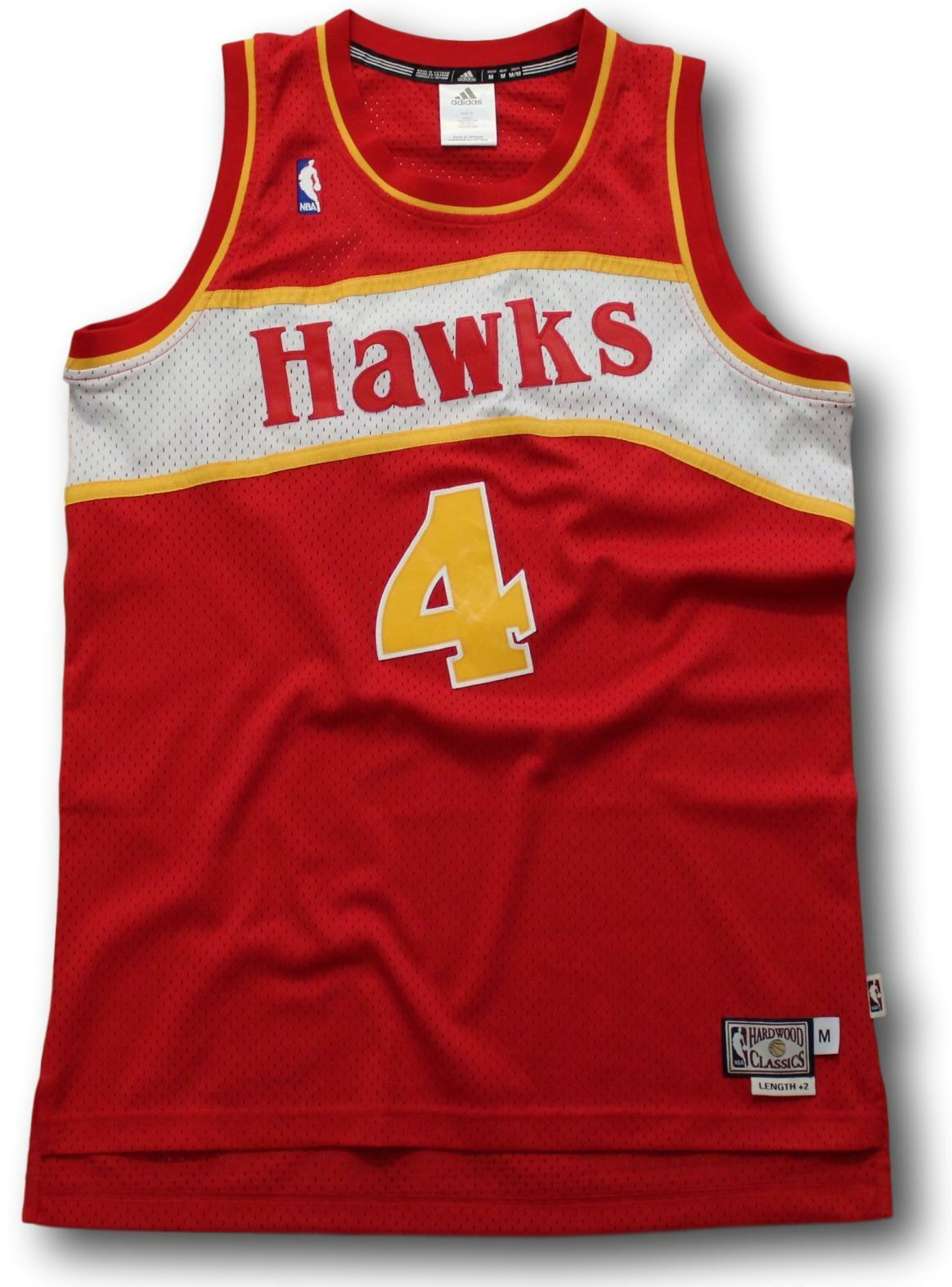NBA Adidas Anthony Spud Wade Atlanta Hawks Hardwood Classics Jersey Size M