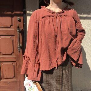 Blouse-tunique-coton-ample-manches-evasees-Mori-shabby-chic-boheme-Japon-vintage