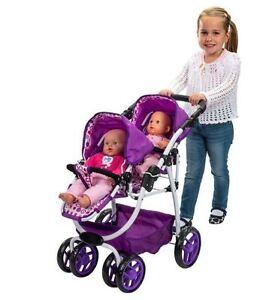 Double-Stroller-For-Dolls-Baby-Doll-Pram-Pushchair-Dimples-Ella-Tandem-Girls