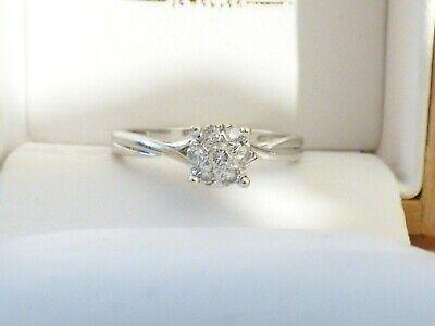 0f9b66c524b28 Ernest Jones 9ct White Gold cluster Diamond Engagement Ring 0.15ct SzN    eBay