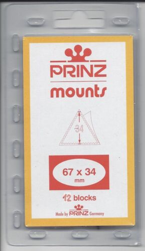 Package of 12 Prinz CLEAR Mounts 67 x 34