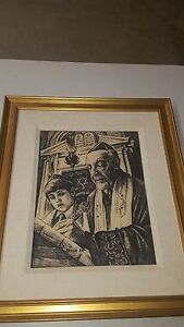 FRAMED GENUINE ARTINI ENGRAVING Rabbi & Boy Signed Nahum Avi 1976? 20 INCHES