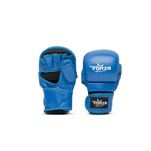 FORZA GENUINE LEATHER CLOSED MMA GLOVES FIGHT KICKBOXING PUNCH BLACK BLUE