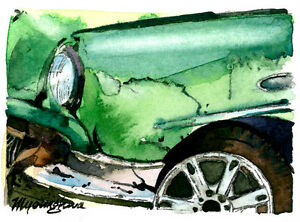 ACEO Limited Edition Art print of an ACEO watercolor A old green car