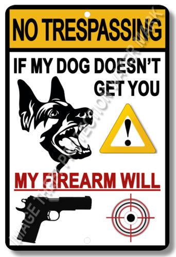 "No Trespassing Dog Gun Pistol Firearm Home Business Security Sign 8/""x12/"""