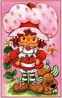 Vintage Strawberry Shortcake Berry Nice Day Quilting Fabric Block