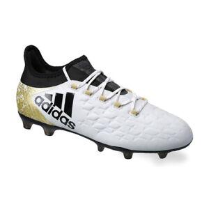 Adidas Men s X 16.2 FG Soccer Cleats (White Black Gold) (12) AQ4308 ... aaca3a784ccf