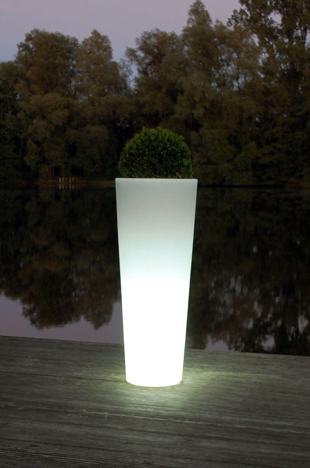 Pflanzkübel  Rondo Classico  aus Kunststoff beleuchtet, 110 cm, Weiß