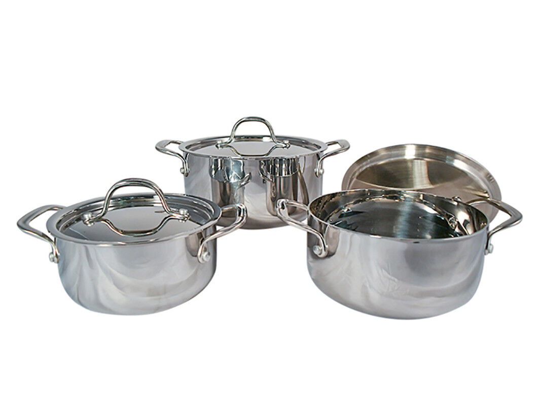 Le Chef 5-ply Stainless Steel 6 Piece Dutch Oven Set with Stainless Steel Lid