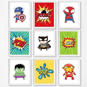 Superhero-Nursery-Wall-Decor-Prints-Kids-Room-Boy-and-Girl-Option