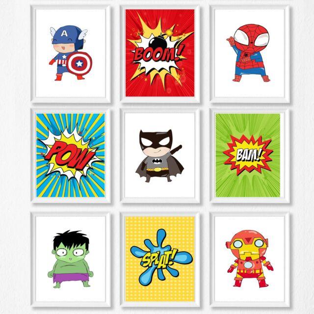 Superhero Nursery Wall Decor Prints, Kids Room, Boy and Girl Option