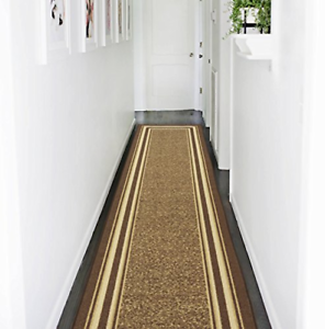 Brown-Contemporary-Bordered-2-ft-x-7-ft-Runner-Rug-Stain-Resistant-Non-Skid-Rug