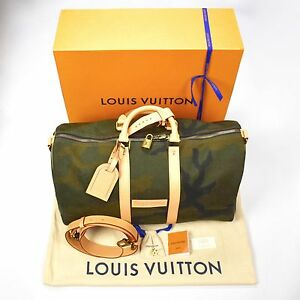 cf021ef6ef0d NWT Louis Vuitton x Supreme LV Monogram Box Logo Camo Keepall 45 Bag ...