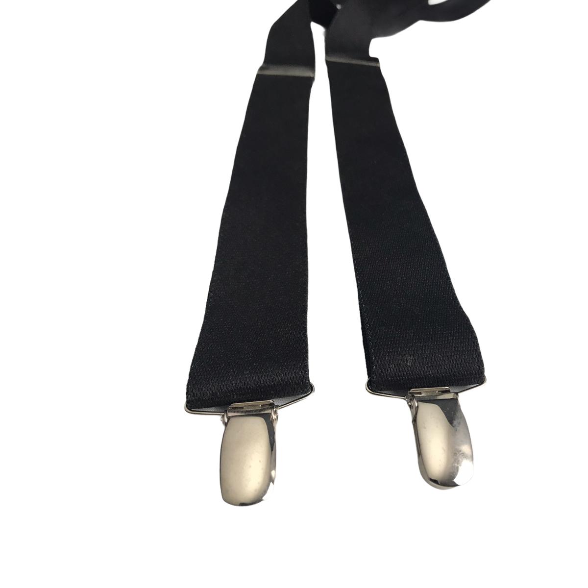 Vintage Retro Men's Black 4-Clip X-Shape Thick Adjustable Braces Suspenders
