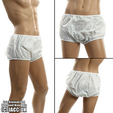 NEW Adult Baby Plastic PVS Rubber Pants White Sissy Brief Underwear  INT.148.