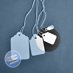 100 x 80mm x 50mm White Strung String Tags Swing Price Tickets Tie On Labels