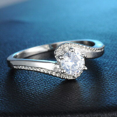 Size 7,8 Jewelry White Sapphire 18K White Gold Plated Engagement Ring Newly Gift