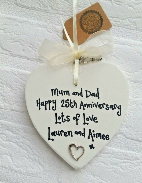 25th SILVER WEDDING ANNIVERSARY GIFT PRESENT Personalised handmade wooden heart & 25th Silver Wedding Anniversary Gift Present Personalised Handmade ...