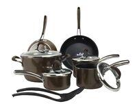 Farberware Affiniti 12-piece Non-stick Teflon Cookware Set, Brown | 14177-farber on sale