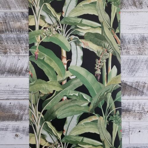 Manor House Tropical Banana Leaf Botanical Plant Designer Green Black Wallpaper