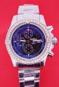 Breitling Super Avenger II (two) Watch with 2.50 CT Diamond Bezel A13371 ASAAR