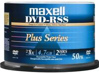 50-Pack Maxell DVDRSSPLUS 4.7GB 8X Thermal Printable DVD-R DVD Disc Spindle