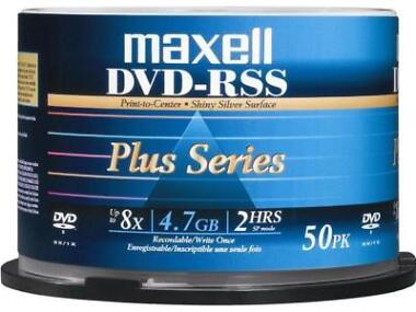 50-Pack Maxell DVDRSSPLUS 4.7GB 8X Disc Spindle
