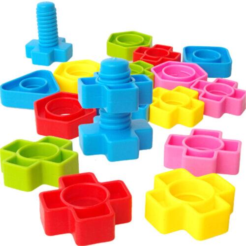 1 set Screw Building Blocks Insert Blocks Nut Shape Kids Educational Gift Toys I