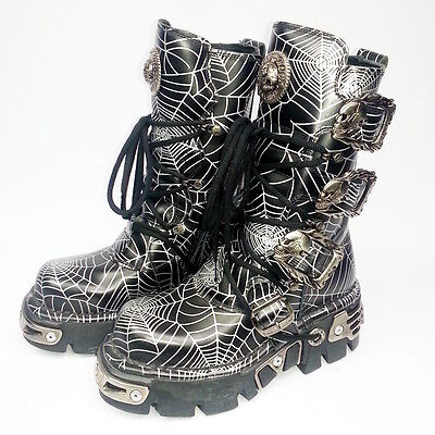 New Rock Black Leather Spider Web Halloween Buckle Reactor Boots, size 3.5 EU 36