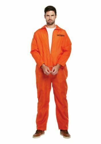 Prisoner Convict Mens Orange Overall Jumpsiut Fancy Dress Party