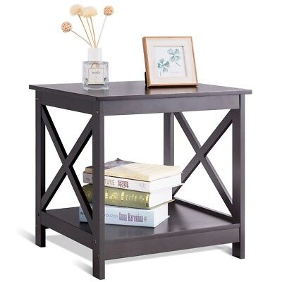 Outstanding X Design 2 Tier Accent End Side Bedside Table Storage Nightstand Display Shelf Dailytribune Chair Design For Home Dailytribuneorg
