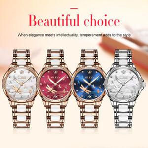 OLEVS-Women-Waterproof-Watch-Stainless-Steel-Butterfly-Clasp-Luminous-Wristwatch