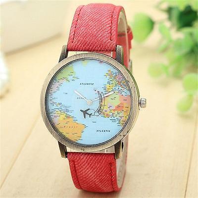 New Fashion Unisex Wristwatch World Map Quartz Watch Denim Fabric Leather Band