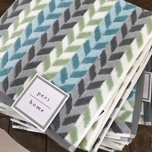 Details About Peri Home Chevron Blue Gray White Green Bath Towels Set 3 New