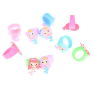 5Pcs-PVC-Rubber-Cartoon-Mermaid-Princess-Kids-Rings-Children-Silicone-Ring